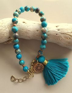 Blue Sea Sediment Jasper Bracelet with Tassel and Charm by MAGICALUNIVERSE on Etsy