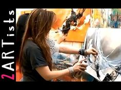 Abstract acrylic painting demo from last art-lesson - 2 Artists - by zAcheR-fineT - YouTube