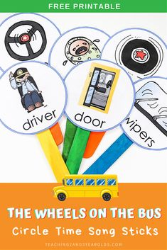 Download these free The Wheels on the Bus printable song sticks to use during your circle time! #circletime #music #fingerplays #songs #thewheelsonthebus #toddlers #preschool #teachers #homeschool #printable #teaching2and3yearolds Transportation Songs, Transportation Preschool Activities, Preschool Songs, Book Activities, Preschool Teachers, Preschool Library, Movement Activities, Alphabet Activities, Activity Ideas