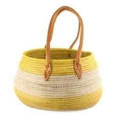 Market Basket Yellow Natural Wolof Dakar Tote African Leather Handle