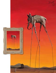 Elephant In The Style Of Salvador Dali, 1948 – 2015 - The John Myatt Collection - Art - Castle Galleries Salvador Dali Gemälde, Salvador Dali Paintings, Cool Paintings, Famous Artists Paintings, Fine Art, Surreal Art, Oeuvre D'art, Les Oeuvres, Art History
