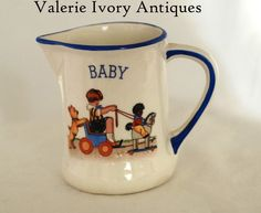 Vintage Baby Pitcher Jug -Child, Dog & Golliwog - Nursery Scene – Czecho Slovakia