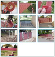 Chain Link Fence Weaving ... a material he bought off ebay from Layman Plastics that creates great privacy & is pleasing to look at, he spent $160 for the weave & gives detailed instructions on how to install it.  Look at the before & after pictures ............. #DIY #fence #chainlink #plastic #fenceweave #howto #tips #curbappeal #landscaping #outdoor #decor #crafts