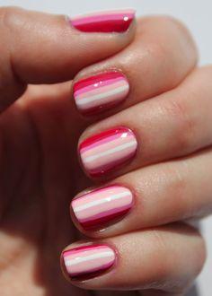Pink racing stripe nails