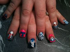 Texas Rangers nail art. Too much for me but very cool!