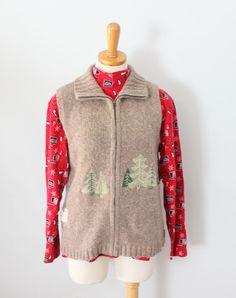 Ugly Christmas Sweater vest w/ free turtleneck Woolrich Men S women M wool CS10 #Woolrich #Vest