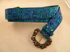 Teal Blue and Purple Vintage Belt by VintageBaublesnBits on Etsy, $10.00