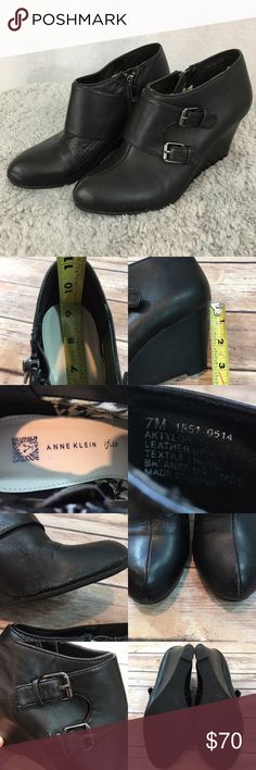 🎈Size 7M Anne Klein Wedge Heel Black Ankle Boots Measurements are in photos. Normal wear. Has some scuffs on the top, side and back. Shows some wear on the Buckle and bottoms. S1/45  I do not comment to my buyers after purchases, due to their privacy. If you would like any reassurance after your purchase that I did receive your order, please feel free to comment on the listing and I will promptly respond.   I ship everyday and I always package safely. Thank you for shopping my closet! Anne…