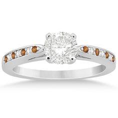 Citrine & Diamond Engagement Ring 18k White Gold 0.26ct, Women's, Size: 9.75