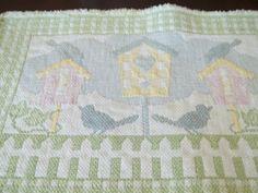 Placemats 4 pc Cotton Placemats 80s Birdhouse by SuzyQsVintageShop, $8.75