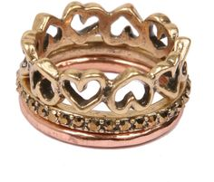 Lucky Brand Gold & Rose Gold-Tone Heart Stacked Ring Set on shopstyle.com