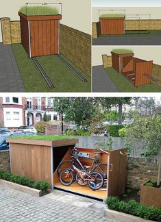 Bike storage 15 DIY Ways To Brilliantly Organize Your Backyard And Make All Your Neighbors Jealous Aufbewahrung garten aufbewahrung garten diy Backyard Bike Brilliantly DIY Jealous Neighbors Organize storage ways Outdoor Bike Storage, Patio Storage, Outside Bike Storage, Garden Bike Storage, Range Velo, Build A Bike, Garden Design, House Design, Small Backyard Design