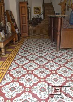 The Hotel Gran Francia in Granada, Nicaragua, offers not one but three stunning tile designs in a floor tile installation. Tile photo, Granada Tile.