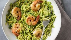 Zucchini Noodles with Avocado Pesto & Shrimp Recipe   EatingWell Quick Easy Healthy Meals, Healthy Foods To Eat, Healthy Dinner Recipes, Diet Recipes, Healthy Snacks, Healthy Eating, Healthy Zucchini, Tofu Recipes, Vegetarian Meals