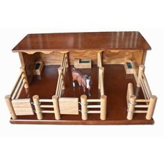ST2 - Three Horse Stable - Handmade Wooden Toy  - Country Toys - Handmade Wooden Trucks and Toys