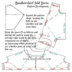 - Handkerchief Fold Dress Checkout the MAKER for this one. My apologies for the delay to our usual posting but I had a little trouble with my graphics. It was a wonderful round of creative answersI just love these one piece patterns!Adjust your pattern t Suit Pattern, Collar Pattern, Pattern Cutting, Pattern Making, Handkerchief Folding, Sewing Hacks, Sewing Projects, Sewing Studio, Pattern Drafting