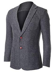 FLATSEVEN Men's Herringbone Tweed Sport Coat Wool Blazer Jacket with Elbow Patches (BJ426) Grey, Boys L #FLATSEVEN #Men #Clothing #Fashion #Jacket #blazer #trends #hot