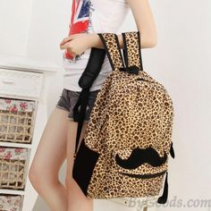 <3 Super Cute Cheetah Printed Backpack with Black Mustache <3
