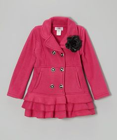 Take a look at this Pink Blossom Ruffle-Hem Coat - Toddler & Girls by Citlali's Choice on #zulily today!