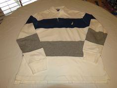 Mens Nautica Mens off white blue striped M long sleeve polo shirt casual EUC@ #Nautica #PoloRugby