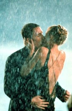 """One of the best movie kisses ever, from the version of """"Great Expectations"""" with Ethan Hawke and Gwyneth Paltrow. LOVE the back of this dress. Perfect Kiss, Love Kiss, Kiss Me, Love Movie, Movie Tv, Movie Kisses, Kissing Scenes, Ethan Hawke, Kissing In The Rain"""