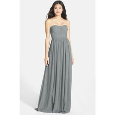 Women's Jenny Yoo 'Aidan' Convertible Strapless Chiffon Gown ($285) ❤ liked on Polyvore featuring dresses, gowns, wisteria, chiffon evening dresses, long chiffon gown, chiffon dresses, strapless long dresses and long ball gowns