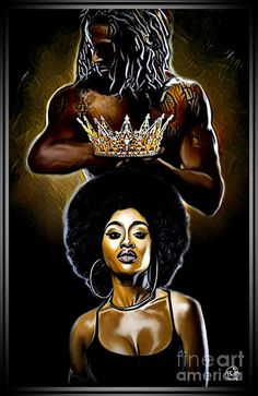 My Beautiful Black Queen Art Print by Ortega Missouri. All prints are professionally printed, packaged, and shipped within 3 - 4 business days. Sexy Black Art, Black Love Art, Black Girl Art, My Black Is Beautiful, Black Girl Magic, Black Girl Tattoo, Black Love Images, Black Couple Art, Black Couples