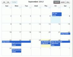 FullCalendar is a jQuery plugin that provides a full-sized, drag & drop calendar.It uses AJAX to fetch events on-the-fly for each month and is easily configured to use your own feed format (an extension is provided for Google Calendar). It is visually customizable and exposes hooks for user-triggered events (like clicking or dragging an event).