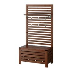 "ÄPPLARÖ Bench w/Wall Panel + Shelf, Outdoor, Brown Stained - $115.00 - 31 1/2""W x 17 3/8""D x 62 1/4""H"