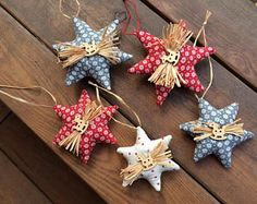Check out our scandinavian christmas decorations selection for the very best in unique or custom, handmade pieces from our ornaments shops. Fabric Christmas Ornaments, Christmas Crafts To Sell, Christmas Star, Christmas Toys, Holiday Crafts, Holiday Fun, Etsy Christmas, Scandinavian Christmas Decorations, Country Christmas Decorations