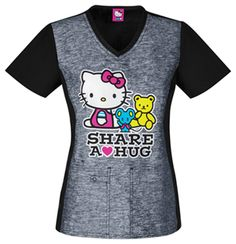 """Share a Hug"" in this Hello Kitty scrub top! Pair it with a pink, black, or grey pant for a cute scrub outfit! #HelloKitty #scrubs 