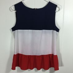 Lavand Womens S M Red White Blue Top Ruffle #Patriotic Satin Shell Tank Top