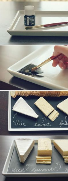 Make Your Own Chalkboard Cheese Platter | Edible Crafts | CraftGossip.com