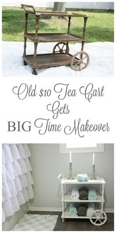 Old tea cart gets an amazing makeover with a little TLC and the perfect spot in the Master Bathroom! Refurbished Furniture, Repurposed Furniture, Furniture Makeover, Painted Furniture, Furniture Projects, Furniture Making, Home Projects, Diy Furniture, Furniture Refinishing