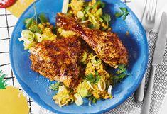 Hühnerkeulen mit Linsen-Ananas-Salat