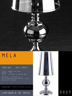 Luminaria de Mesa modelo MELA CÓDIGO : 001-0027 TIPO : Lámpara de mesa SOCKET : E14 FOCO : 1 unidad de máximo 60w  MATERIAL : Pantalla PC color plata / base cromada DIMENSIONES : 0.18 L x 0.18 A x 0.47 H