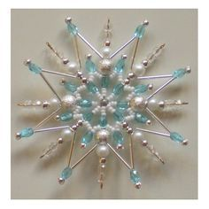 Beaded Stars of Heaven Beaded Christmas Decorations, Christmas Ornament Crafts, Snowflake Ornaments, Christmas Snowflakes, Beaded Ornaments, Christmas Tree Ornaments, Beaded Snowflake, Diy Ornaments, Xmas Crafts