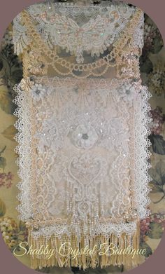 Shabby Chic White and Cream Lace Wall Hanging