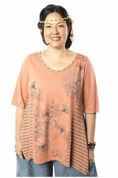 Side Striped Top Printed-Blue Fish Clothing
