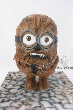 This guy is a cross between a Minion and Chewbacca. He is free standing and so, a gravity defying cake. Gravity Defying Cake, Gravity Cake, Minion Cupcakes, Cupcake Cakes, Cake Minion, Pastel Minion, Star Trek Cake, Minion Birthday, Birthday Cakes