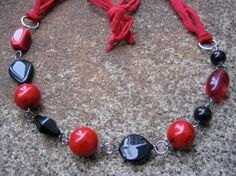Unforgettable Silk Chiffon Ribbon Necklace  - recycled vintage beads in dramatic red & black - chic and unique!