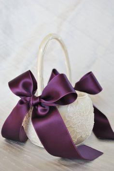 Purple Flower Girl Basket - Purple and Ivory Alencon Lace Flower Girl Basket via Etsy