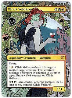 Olivia Voldaren, by Eric Klug. Mtg Altered Art, Mtg Art, L5r, Color Magic, Legendary Creature, Magic The Gathering Cards, Alternative Art, Thing 1, Magic Cards