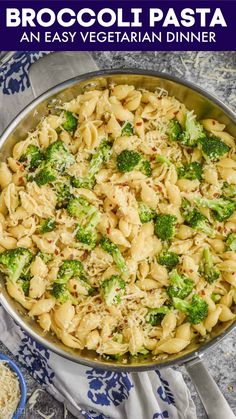 This Broccoli Pasta is a simple go to weeknight dinner that kids and adults can both agree on. It will become a regular in your dinner rotation. Easy Vegetarian Dinner, Easy Dinner Recipes, Pasta Recipes, Soup Recipes, Pasta Meals, Quiche Recipes, Chicken Recipes, Cooking Recipes, Healthy Recipes