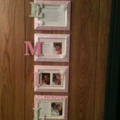 Wall hanging for baby girl. Decopaged scrapbook paper to inexpensive frames. Used chip board letters covered in scrapbook paper to spell baby's name