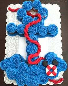 How to Make an Anchor Cupcake Cake for a baby shower! - Crafty Morning
