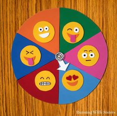 Make An Emoji Mood Spinner – Running With Sisters Make an Emoji Mood Spinner for your door from craft foam. Just cut out emoji faces and glue onto a color coded pie chart. Then add a spinner! Foam Crafts, Diy And Crafts, Crafts For Kids, Arts And Crafts, Paper Crafts, Craft Foam, Emoji Craft, Emoji Faces, Diy Photo Booth