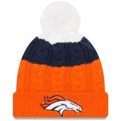 7fae98bab Women s Denver Broncos New Era White Orange Layered Up 2 Cuffed Knit Hat  with Pom