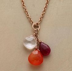 """SETTING SUN NECKLACE -- Briolettes descending from an 18kt rose gold vermeil chain capture the ever-changing hues of sunset. Lobster clasp. Sundance exclusive handcrafted in USA. 18""""L."""