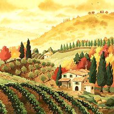 Altman Tuscan Landscape Ceramic Accent Tile x - Tuscan Style Homes, Tuscan House, Style Toscan, Tuscan Home Decorating, Tuscany Decor, Tuscan Design, Tuscan Art, Mediterranean Home Decor, Wine Decor